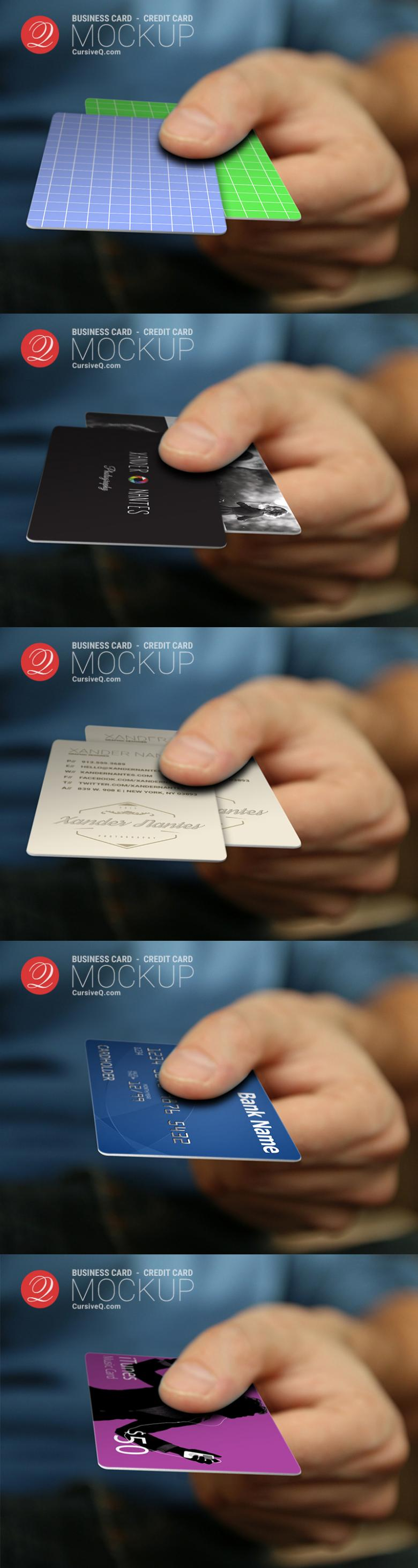 Free Business Card or Credit Card in Hand Mockup