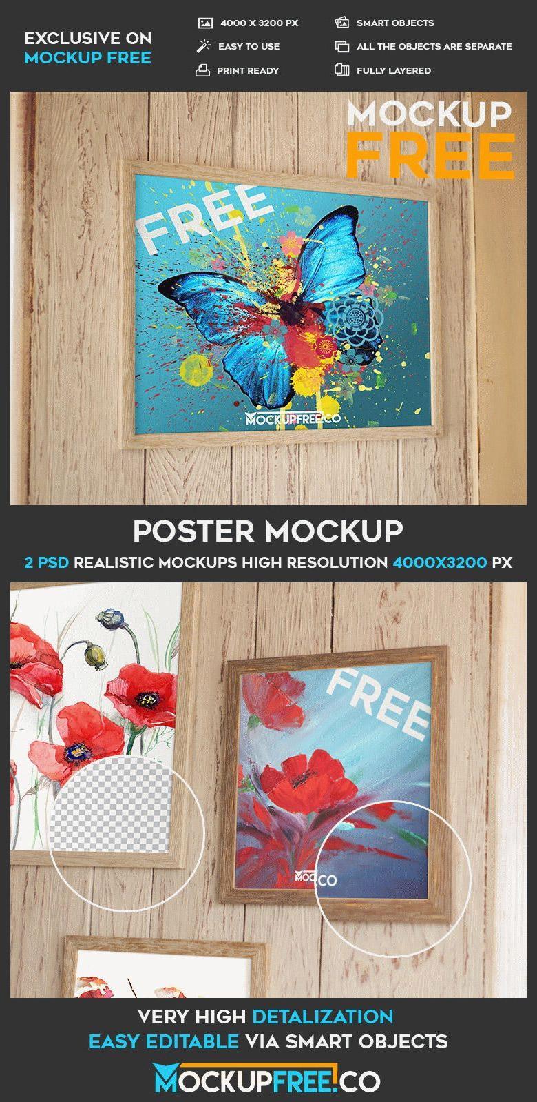 Framed Poster PSD Mockup Set