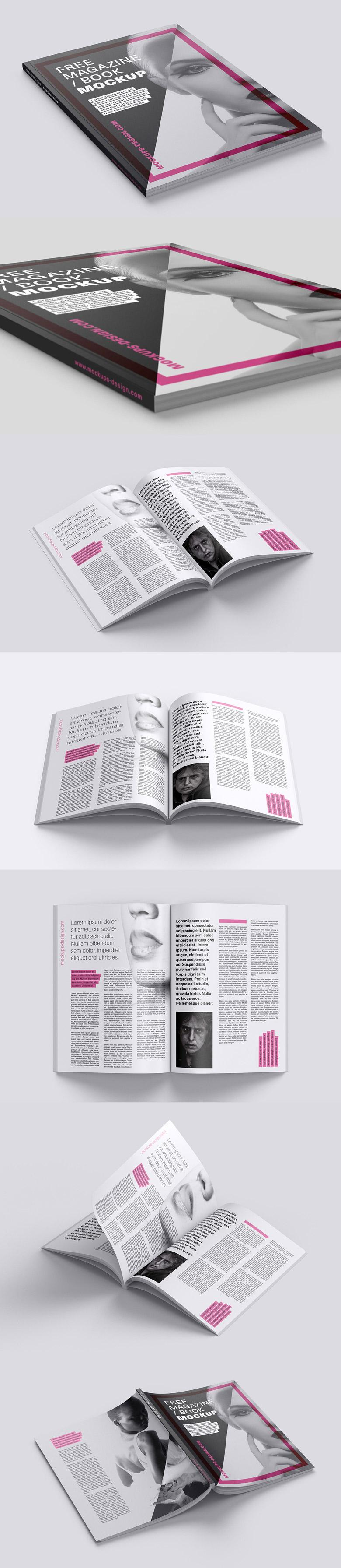 Magazine, Catalog, or Book Mockup Set