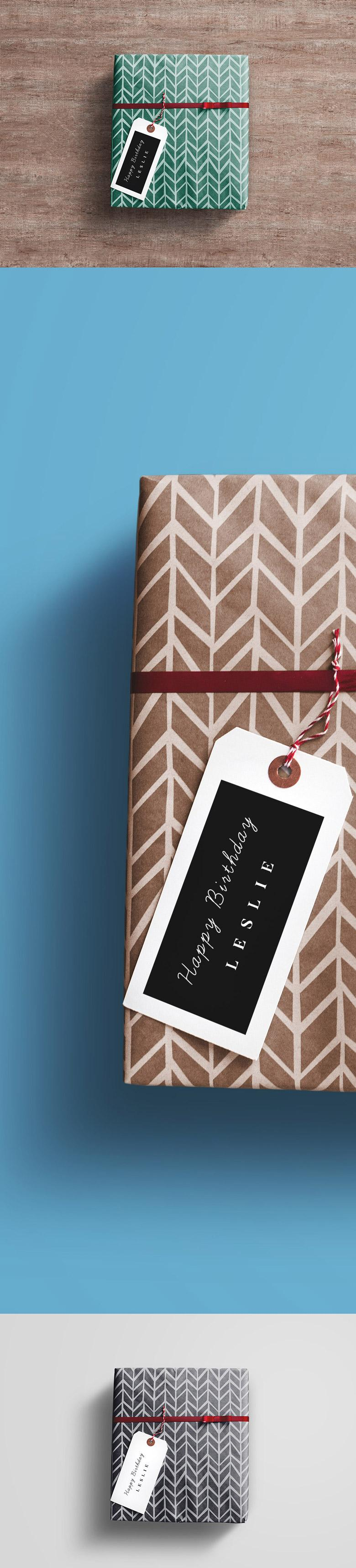 Gift Wrapped Box Mockup
