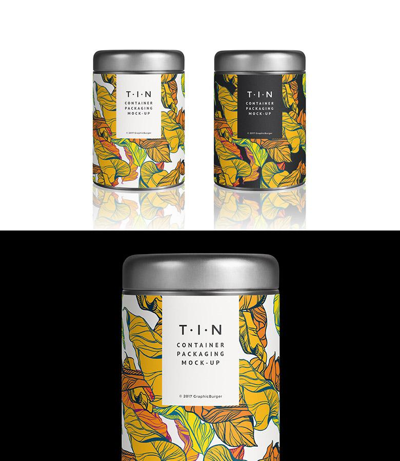 Tin Packaging Container Mockup