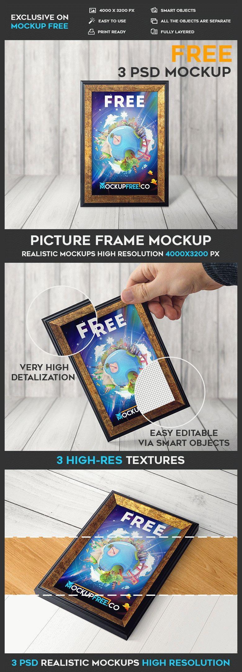 Gold Picture Frame Mockups