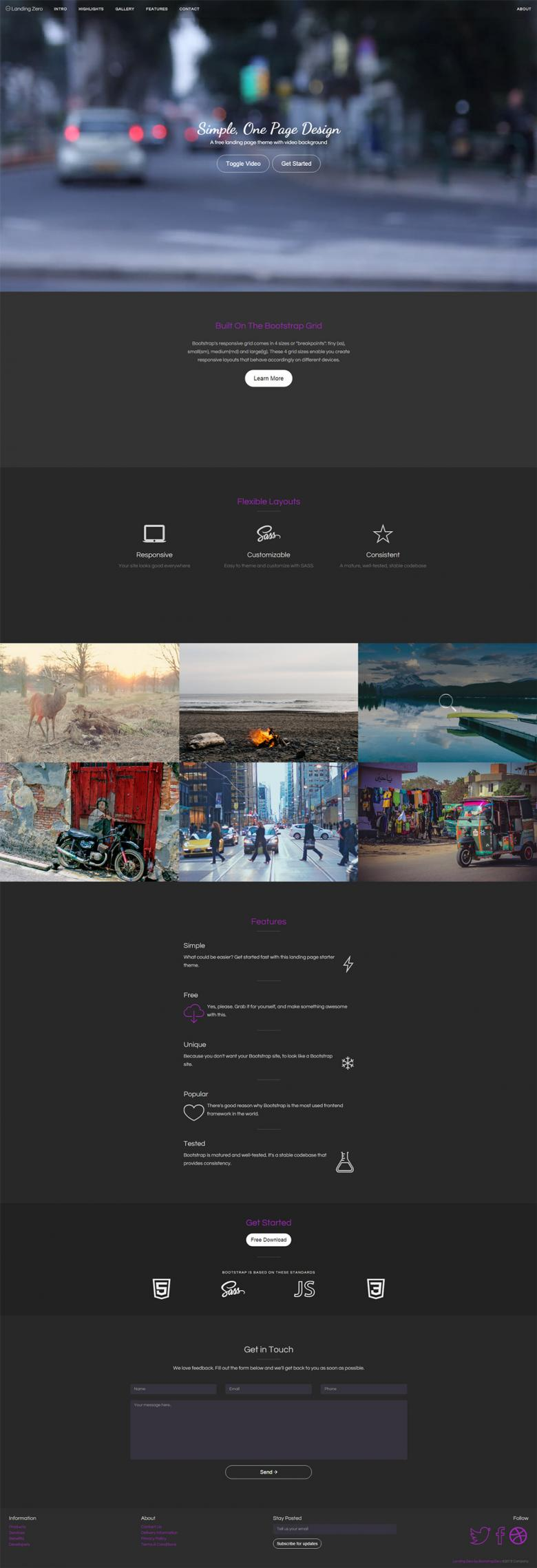 Landing Zero Bootstrap Landing Page Template