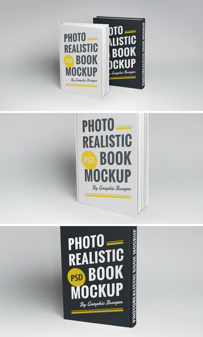 Front and Back Hardcover Book Mockup