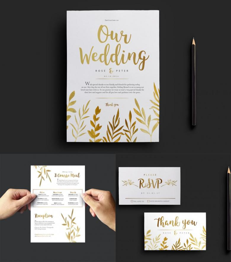 Gold Watercolor Wedding Invitation Templates