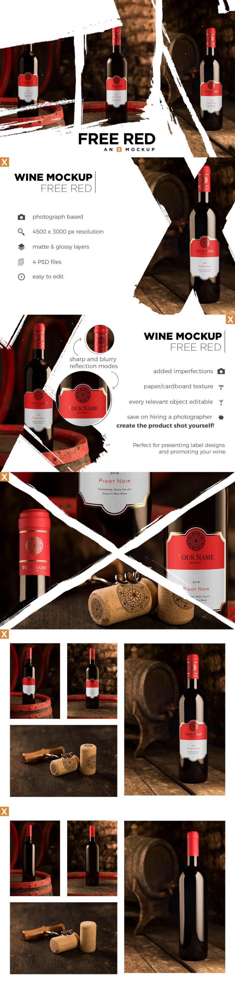 4 Red Wine Bottle Mockups