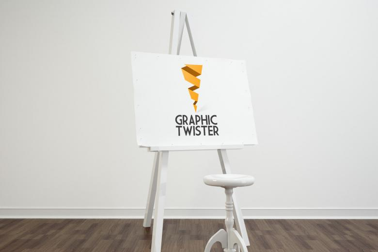 Stool and Tripod Easel PSD Mockup
