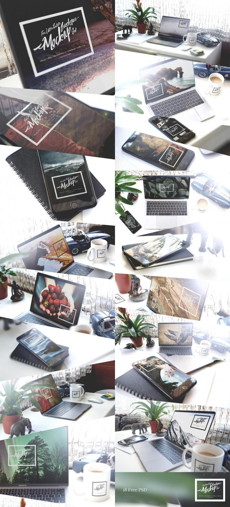 Photorealistic Workspace Mockup Set