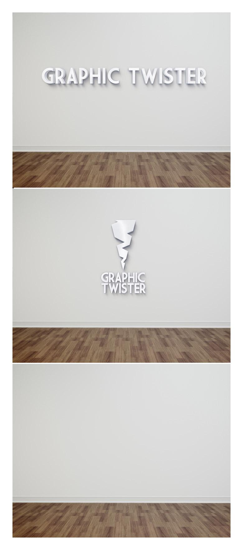 3D Text on Wall Mockup
