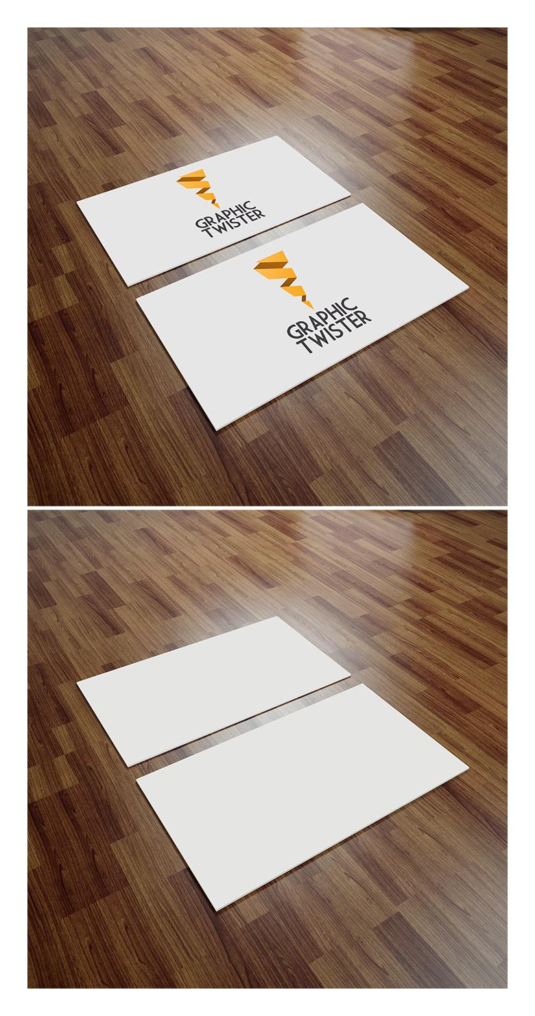 Angled Business Card Mockup