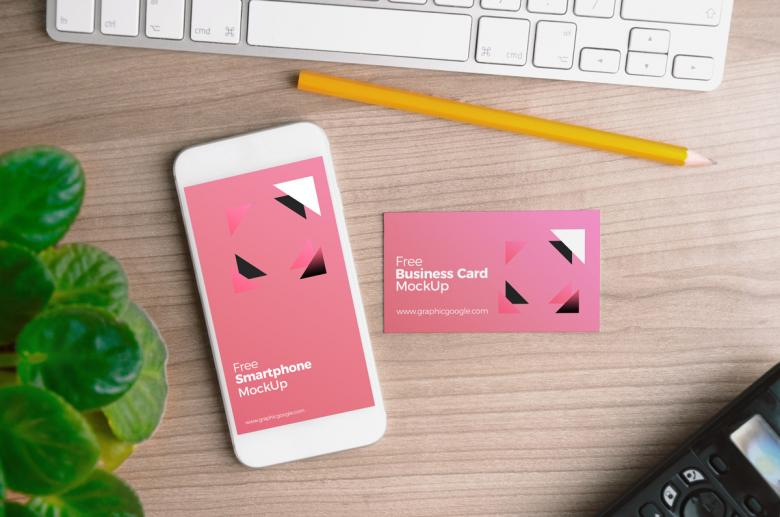 Smart Phone with Business Card Mockup