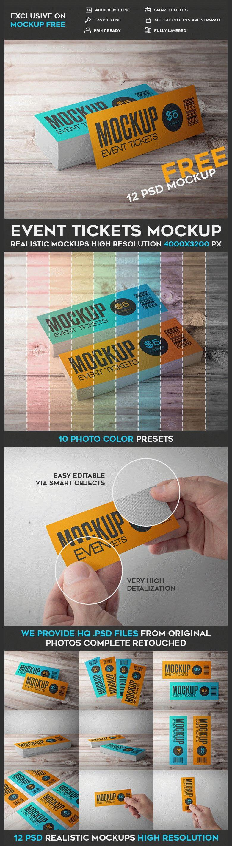 12 Event Ticket Mockups