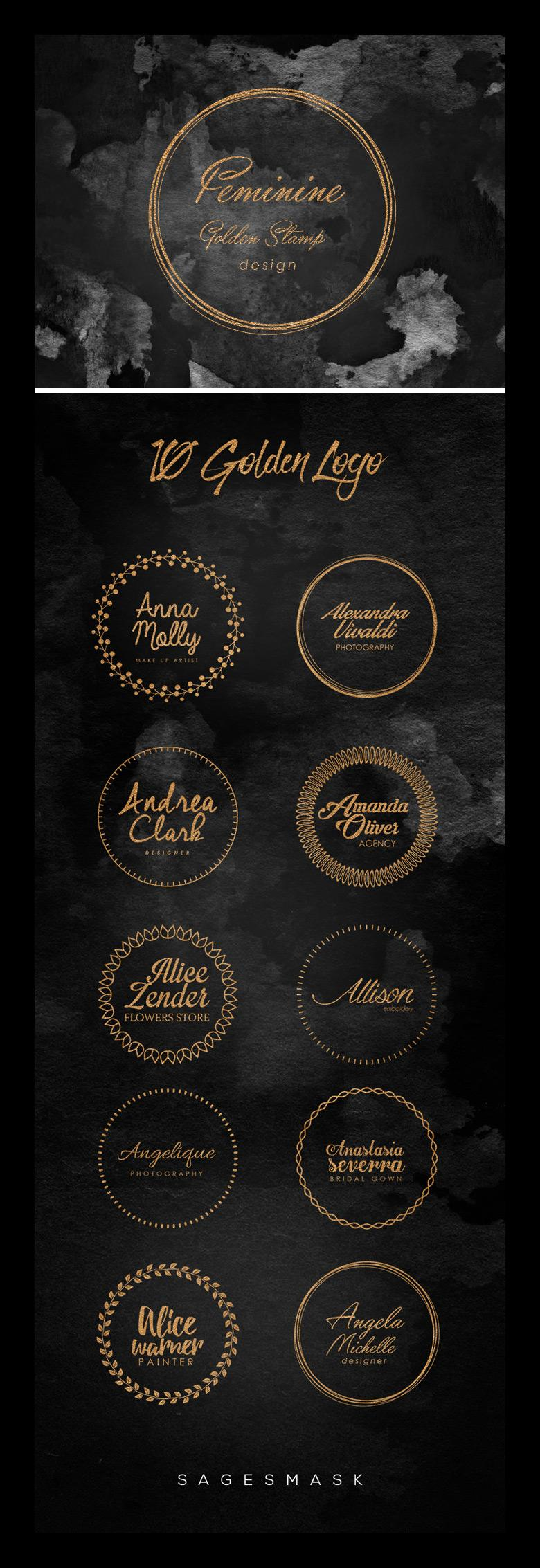 10 Feminine Golden Stamp Logo Templates