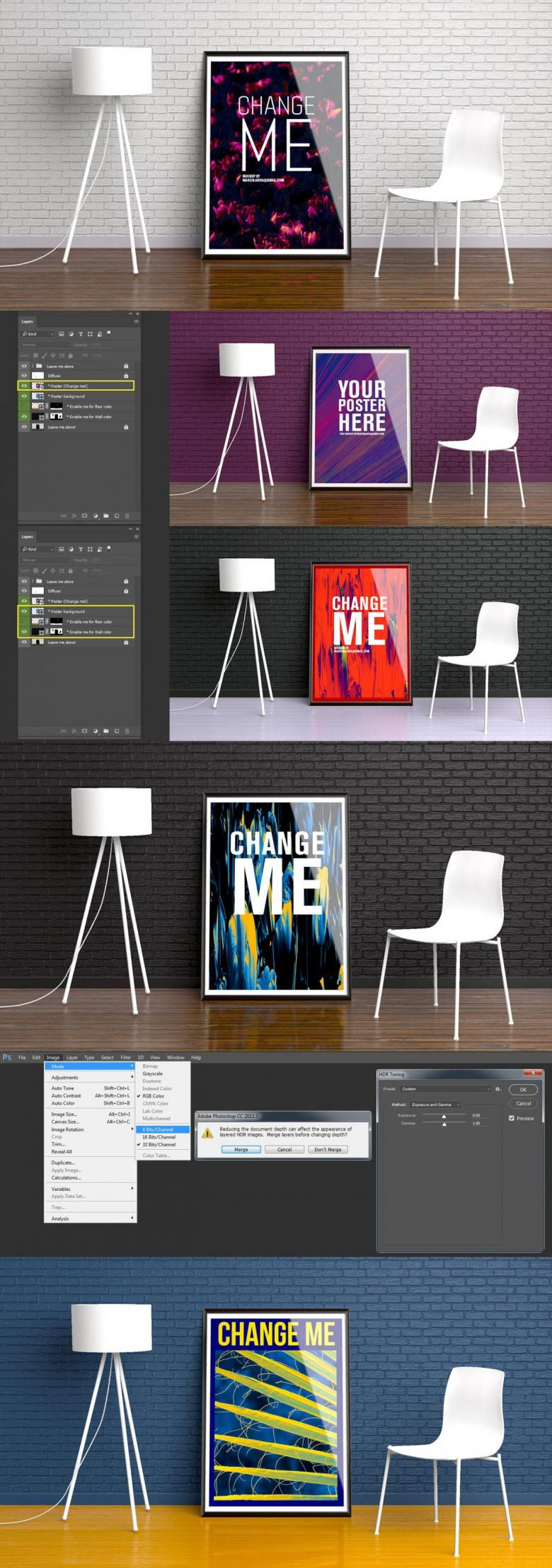 Modern Framed Poster Mockup