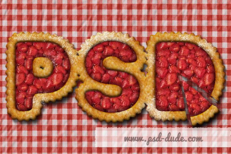 Strawberry Fruit Pie Text Effect Photoshop Tutorial | The